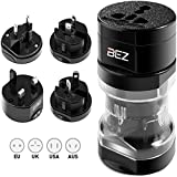 BEZ Travel Adapter / Reisestecker Adapter / Universal Reiseadapter / Internationaler Stecker [US UK EU AU] 5-Stück Set mit Reisebeutel