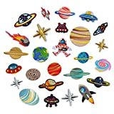 SUPVOX Patch Sticker Bügeln Stickerei Gestickte Sonnensystem Planet Astronaut Weltraumflug DIY Kleidung Patches Aufkleber 26 Stück