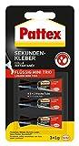 Pattex Sekundenkleber Flüssig Mini Trio/Lösungsmittelfreier Flüssigkleber/Schnell trocknend, wasserfest und transparent, 3 x 1 g