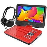 WONNIE 10.5' Tragbarer DVD-Player, Schwenkbaren Bildschirm, HD Display 4-5 Stunden Akku, USB/SD Slot Mit Kopfhörer, Perfekte Geschenke für Kinder (Rote)