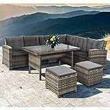 Polyrattan Ess- & Sitzgruppe Santa Catalina für 5-7 Personen mit Esstisch & 2 Hockern in beige-grau mit Bezügen in Dunkelgrau | ArtLife