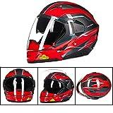 XC Motorrad-Kombination Helm, Anti-Fog Und Anti-Stun-Doppel-Objektiv Sonnenblende, Halb Helm Vollgesichts-Helm-Schalter, Hell Rot Silber,XL