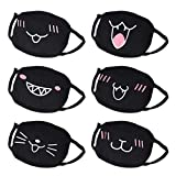 Schwarze Mundmaske,AIEVE 6 Stück Unisex Baumwolle Gesicht Maske Staubschutz Mundschutz mit Ohrbügel für Damen/Männer/Junge/Mädchen
