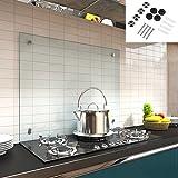Melko Glas Küchenrückwand / Spritzschutz, Herdblende – 6 mm ESG Sicherheitsglas - Fliesenspiegel inkl. Befestigungsmaterial (Klarglas, 70 x 60 cm)