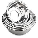 Oliying 18/10 Edelstahlschüssel Set 5 Stück, Hochpolierte Technik, Rührschüssel Set/Salatschüssel aus Edelstahl, Kochen wesentliche Küchenutensilien