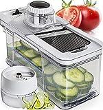 Gemüsehobel Mandoline mit Spiralschneider Prep Naturals - Gemüseschneider mit Edelstahlklingen zum Schneiden und Reiben - Küchenzubehör mit Auffangbehälter und Fingerschutz - Spülmaschinenfest