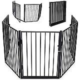 KIDUKU Kaminschutzgitter mit Tür Metall Laufgitter Laufstall Absperrgitter Türschutzgitter für Kinder-Sicherung, 300 cm Länge, schwarz