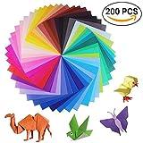 sunerly 200Blatt 50lebendigen Farben einseitig Origami Papier für Kunst und Handwerk Projekte + 100wackelncomment Kulleraugen (100Blatt 15x 15cm + 100Blatt 10x 10cm)