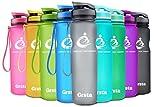 Grsta Sport Trinkflasche 32oz-1000ml - Wasserflasche Auslaufsicher, Eco Friendly BPA Frei Tritan Kunststoff Flaschen mit Frucht Filter, Sporttrinkflasche für Kinder, Gym, Yoga, Laufen, Camping (Grau)