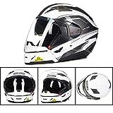 XC Motorrad-Kombination Helm, Anti-Fog Und Anti-Stun-Doppel-Objektiv Sonnenblende, Halb Helm Vollgesichts-Helm-Schalter, Hell Silber,XXL
