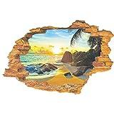 UNIQUEBELLA Wandsticker Sonnenstrand 3D Wandtattoo Wandaufkleber Fensterbilder Wall Art Sticker Decal