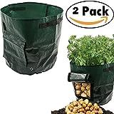 2er Pflanzsack groß, 50 L, 34 x 35cm , Gronest Pflanzsäcke für Kartoffel, Erdbeer Karotten, Erdbeeren Grow Bag