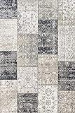 LIFA LIVING Patchwork Vintage Teppich, im schönen Vintage Muster, für Wohn- und Schlafzimmer, Farb und Größen Variationen (DunkelGrau, 133 x 200 cm)