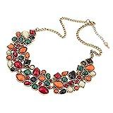 YAZILIND Colorful Kurz Halskettechoker Schellfisch Aussagen Hängende Kristallhalsband Chunk Frauen Vergoldet Chain