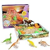 Weeygo Magic Sand Playset, 3D Sand-Box Super Sand - Knetsand Magischer Natürlichen Spielsand mit Dinosaurier Geometrischen Schimmel für Kinder
