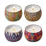 Rackaphile - Duftkerzen 4 Stück Duftkerzen Tin Set 100% Sojawachs Aromatherapie Kerze mit bleifreiem Docht von Rosen Zitrone Lavendel und Feigen Duft, eignet für Baden Yoga Muttertag Vatertag Weihnachten Valentinstag.