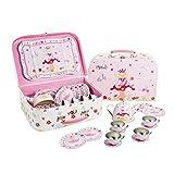 Feen Teeservice im Koffer - 14 Stück Tee Set Puppengeschirr aus Metall für Mädchen - Lucy Locket