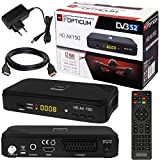 SATELLITEN SAT RECEIVER  HB DIGITAL DVB-S/S2 SET: Hochwertiger DVB-S/S2 Receiver + HDMI Kabel mit Ethernet Funktion und vergoldeten Anschlüssen (HD Ready, HDTV, HDMI, SCART, USB 2.0, Koaxial Ausgang, Opticum AX150 )