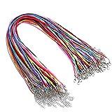 30 Stück Satin Seide Halsketten Schnur und 30 Stück Lederband mit Verlängerungskette und Hummerverschluss, 18 Zoll, 10 Farben