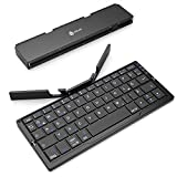 iclever Faltbare Bluetooth-Tastatur, Handy-Tastatur mit Ständer und 3 Bluetooth-Kanälen, Mini-Wireless-Tastatur Kompatibel für iOS, Android, Windows, PC, Tablets und Smartphone, QWERTZ-Layout