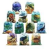 BeeGreen Mitgebsel Kindergeburtstag Geschenktüten Dinosaurier Party Deko 12 Stück Dinosaurier Geschenktütchen für Kinder Geburtstag, Give Aways Mitgebseltüten, Geschenktaschen