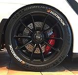 4 x Tire Style Reifenaufkleber - Hankook mit Logo- Farbe: weiß Reifenschrift (19 Zoll)