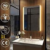 EMKE Badspiegel mit Beleuchtung 80x60cm Warmweiß, Badezimmerspiegel Wandspiegel LED Badspiegel Spiegel mit Beleuchtung, Lichtspiegel Energieklasse A Modell 2