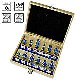 S&R Fräser-Set 12-tlg, HM, Schaft 8mm, Holzkoffer, geschmiedeter Werkzeugstahl, Schneideplatten aus HM in Holzbox