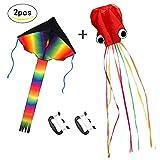 ZoomSky 2er Kinder Drachen,Große Bunt Delta Einleiner Flugdrachen und Rote Oktopus Winddrachen mit Drachenschnur für Mädchen Jungen ab 3 Jahre