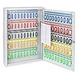 HMF 135100-07 Schlüsselschrank 100 Haken verstellbare Hakenleisten, 55,0 x 38,0 x 8,0 cm , lichtgrau
