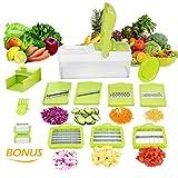 10 in 1 Verstellbarer Mandoline Gemüseschneider Kartoffelschneider, Zerteilen Gemüse Obst Schnell und gleichmäßig, Multischneider, Gemüsehobel, Gemüseschäler, Gemüsereibe und Julienneschneider in 1 von WEINAS