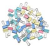 40 Stück Foldback Klammern Vielzweckklammern Büroklammern Binder Clip 19 mm,Diverse farbig Praktisch