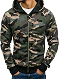 BOLF Herren Kapuzenpullover mit Reißverschluss Sweatshirt Military-Muster Camo Army RED Fireball W1379 Grün XL [1A1]