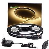 Ustellar Dimmbar 5m LED Streifen Set 300 LEDs Lichtband mit Netzteil , 2835 SMD Strip Kit Licht Band Leiste Lichtleiste , 3000K Warmweiß, 12V Innenbeleuchtung für Deko Party Küche Weihnachten