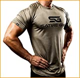 Satire Gym Fitness T-Shirt Herren - Funktionelle Sport Bekleidung - Geeignet Für Workout, Training - Slim Fit (M, Khaki meliert)