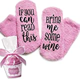 Pinke Wein Socken If You can read this bring me some wine Lustige Cupcake Socken Geschenk für Frauen - Für Weinliebhaber, Geburtstags-geschenk für Frauen, Weihnachtsgeschenk Wein-Zubehör (Pink)