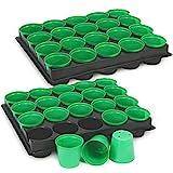 COM-FOUR 40x Anzuchttöpfe mit Pflanzschalen zum Anzüchten von Pflanzen, Pflanzkasten für 40 Pflanzen, 30,5 x 25,5 x 5,8 cm (40 Stück - Anzuchttöpfe)