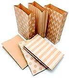24 Geschenktüten mit schönem Muster | ideal als DIY Geschenk-Papier | Ideal auch für Plätzchen und Kekse | Casparo Design (13 x 21cm, 6 Muster in Weiß)