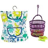 com-four Wäscheklammer-Kleid mit Bügel in verschiedenen Motiven und Wäscheklammern im Korb als Set (27-teiliges Set - Kleid+Korb+Klammern)