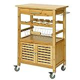 SoBuy Servierwagen aus hochwertigem Bambus,Küchenwagen,Küchenregal, B60xT40xH92cm FKW09-N