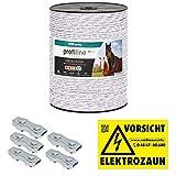 500m Kunststofflitze 6mm mit Litzenverbindern Weidezaunseil Weidezaun Litze Kordel