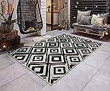 Teppich Boss In- & Outdoorteppich Flachgewebe Wendeteppich Raute modern, Größe:80x150 cm, Farbe:schwarz/Creme