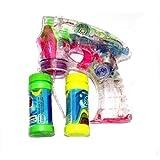 Oramics Seifenblasenmaschine Seifenblasen-Pistole mit 2 Behälter + beleuchtet und mit Sound transparent mit LED Leuchten