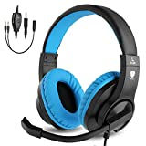 BlueFire 3,5 mm PS4 Gaming Headset Kopfhörer mit Mikrofon und LED-Licht, kompatibel mit Playstation 4, Xbox One, PC blau blau