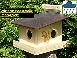 XXXL Echhörnchen Kobel/Futterhaus aus hochwertigem Vollholz, hochwertig Imprägniert, deutsches Qualitätsprodukt von Hand gefertigt im Bayerischen Wald (Eichörnchenkobel imprägniert)