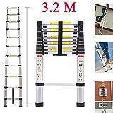 Teleskopleiter YUMUN 3.2M Alu Leiter Ausziehbar Haushaltsleiter Teleskopleiter Aluminium Klappleiter Ausziehleiter Mehrzweckleiter -Maximale Belastbarkeit 150 kg