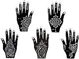 Mehandi Schablonen 5 Stück Set Henna 5 Designs zur einmaligen Verwendung für Hände auch für Glitter Tattoo und Air Brush Tattoo geeignet