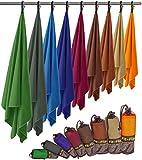 Fit-Flip Microfaser Handtuch – federleicht, ultra saugstark und schnelltrocknend – (2x 80x40cm + 1x Tasche, Anthrazit Grau)