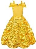 JerrisApparel Mädchen Belle Kostüm Prinzessin Kleid Drop Shoulder Cosplay Kostüm (Gelb, 5-6 Jahren)