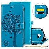 Herbests Handy Schutzhülle für Samsung Galaxy J2 Pro 2018 Handyhülle Retro Katze Muster Leder Hülle Brieftasche Leder Tasche Book Case Klapphülle Handytasche Flip Case Cover,Blau
